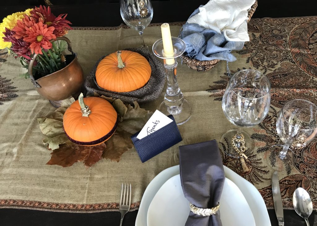 Thanksgiving Table set with fashion accessories.