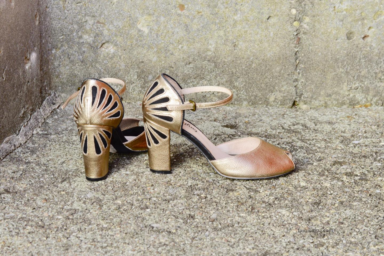 Gold heel sandals.