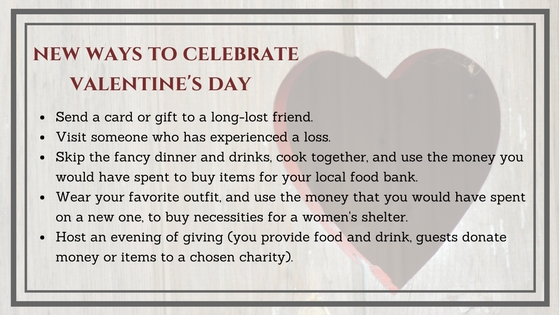 List of charitable Valentine's Day activities.