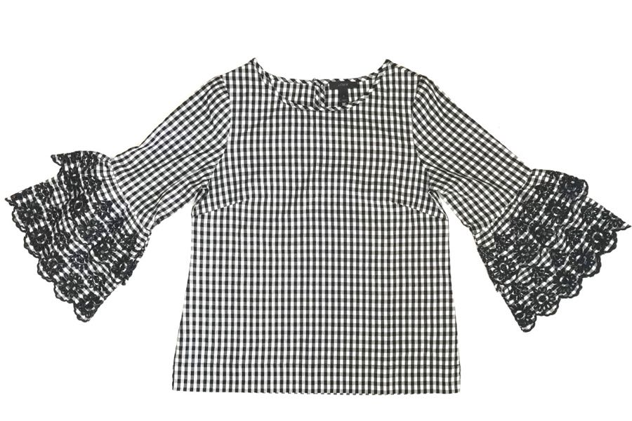 Gingham check blouse with embroidered bell sleeves