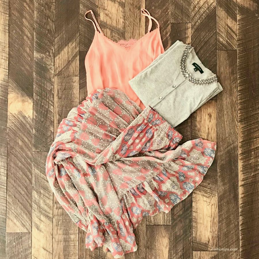 Silk printed skirt, silk camisole and gray beaded sweater flatlay. Winter To Spring Transition.