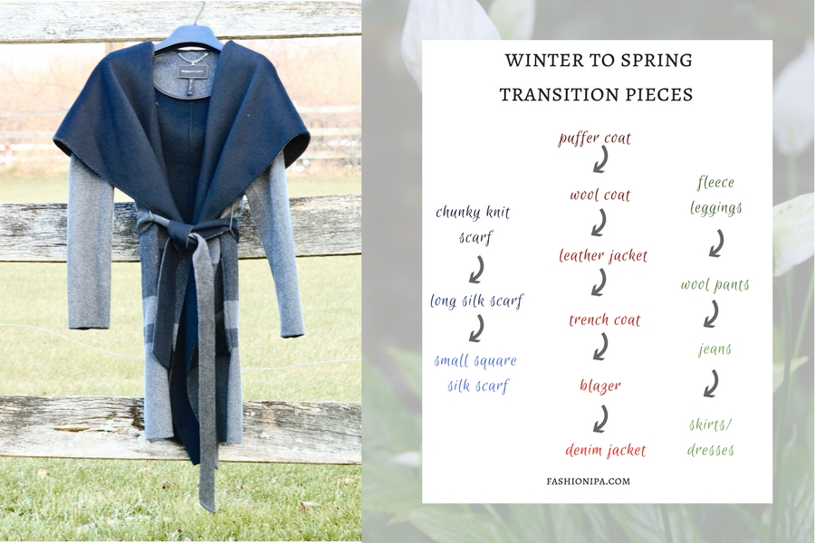 Wrap coat hanging on a fence. Winter To Spring Transition Piece.