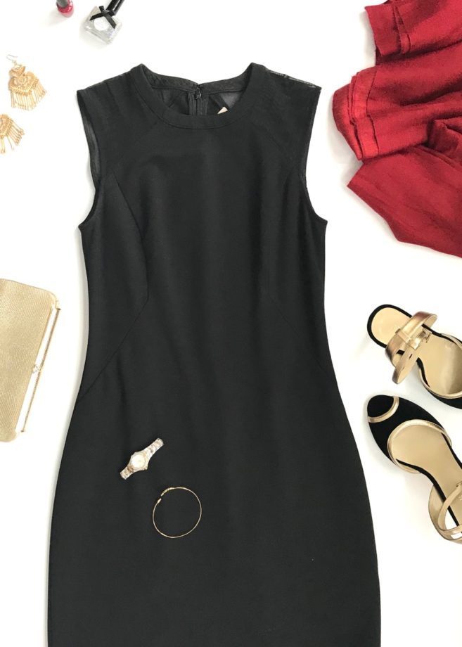 Flatlay of Valentine's Day LBD with Red and Gold Accessories