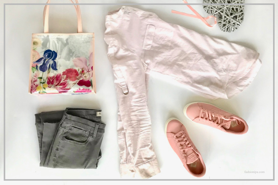 Pink sneakers, floral bag, gray jeans, pink blouse