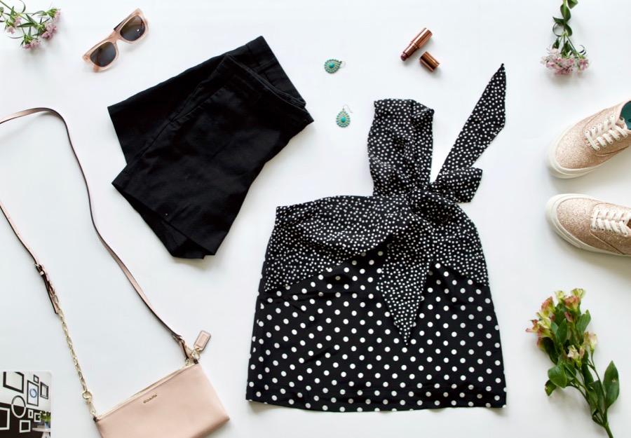 Polka Dot Blouse + Black Shorts + Sneakers