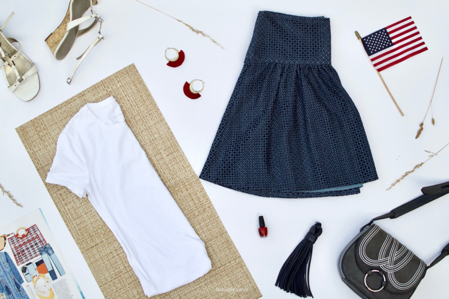 White T-shirt + Laser Cut Skirt + Cross-body Bag