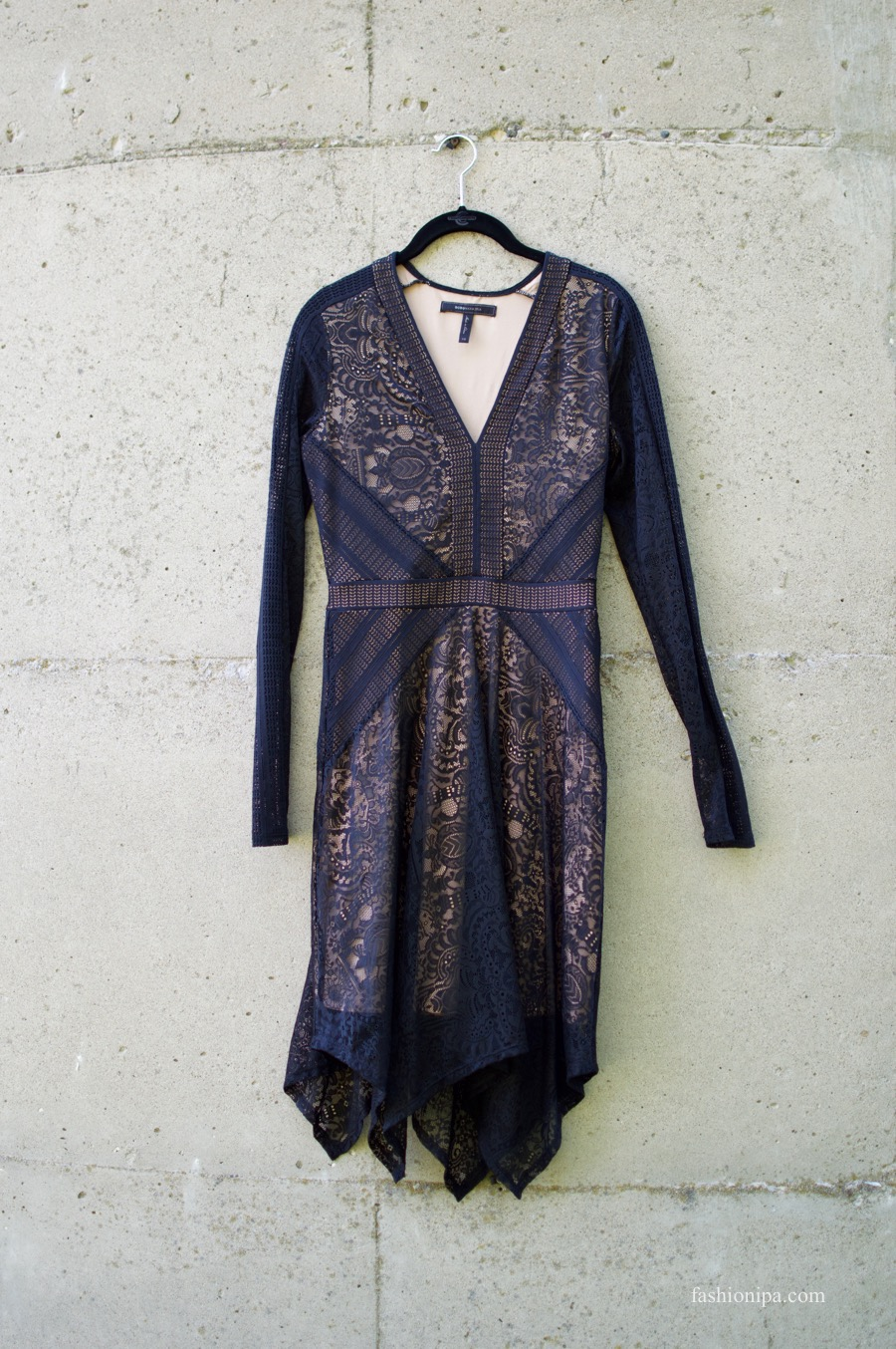 BCBG Lace Handkerchief Hem Dress