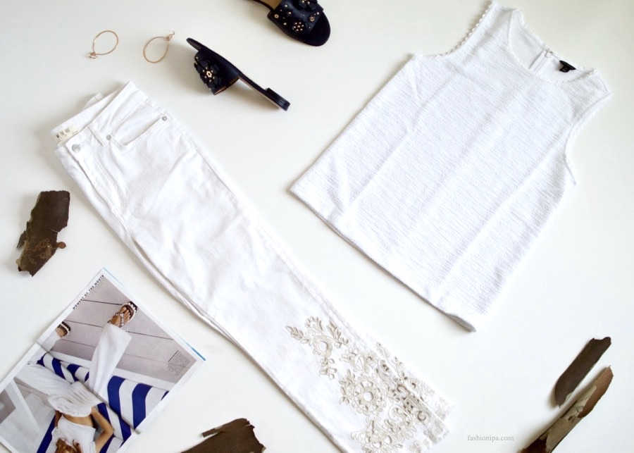 White Jeans + White Tank + Navy Slides