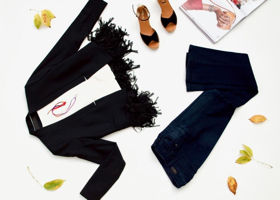 Blazer With Fringe + Jeans + Sandals + Hermes Scarf Pendant