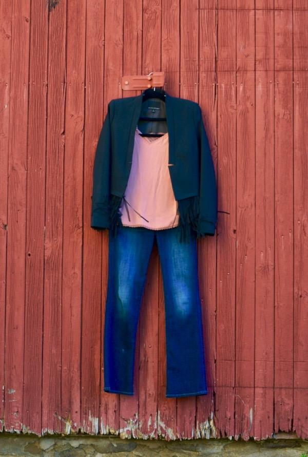 Fringe Jacket + Camisole + Jeans
