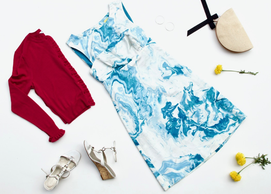 Watercolor Shift Dress + Ruffle Cropped cardigan + Straw Clutch
