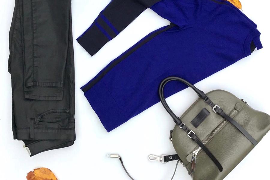 Color Block Sweater + Black Coated Jeans + Olive Handbag