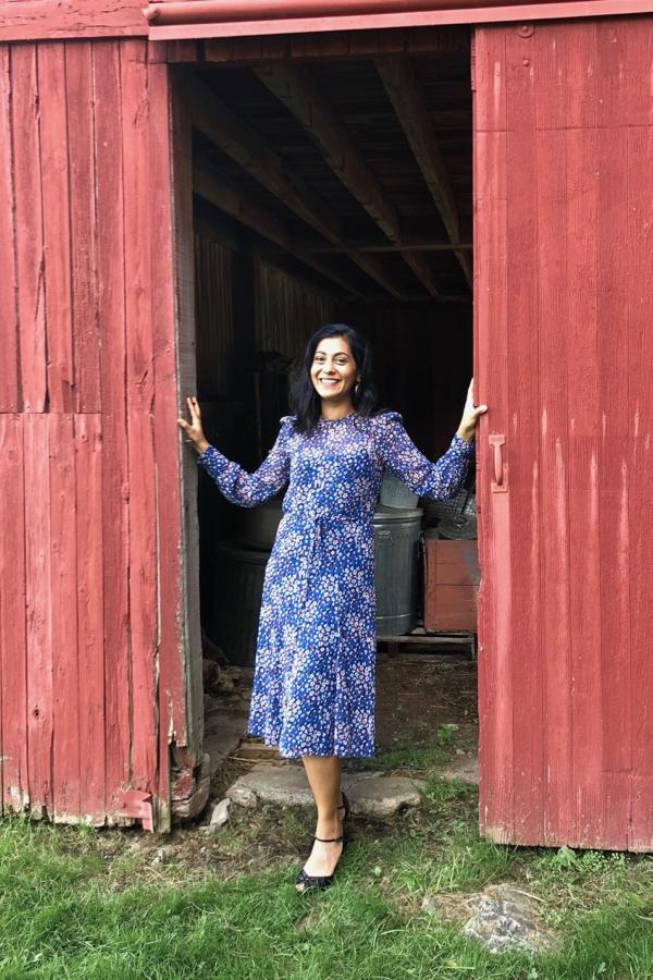 L.K. Bennett Blue Printed Dress