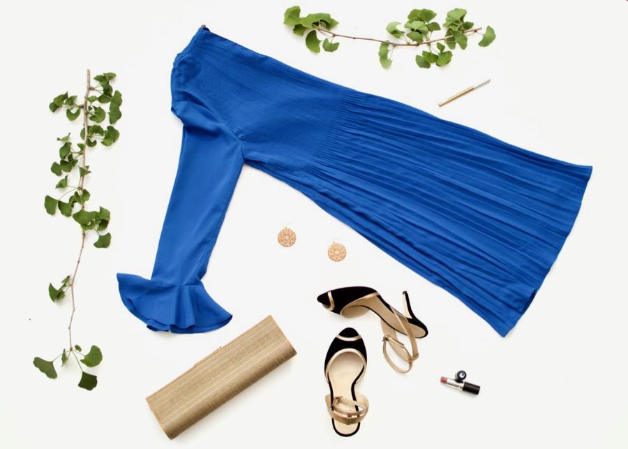 Le Gali Dress + Gold Clutch + Black Heels + Circle Earrings