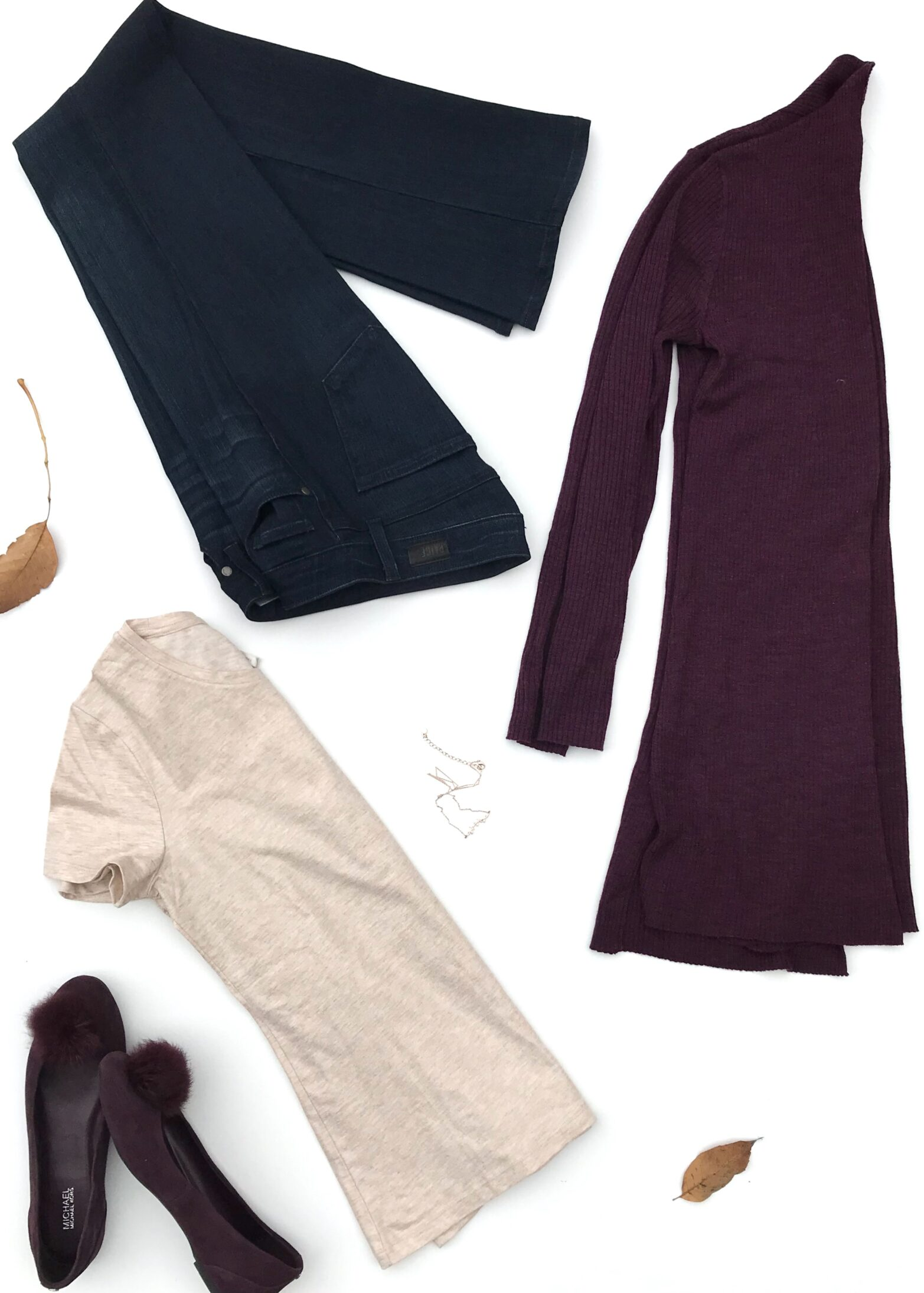 Wine Cardigan + Dark Blue Jeans + Gold T-shirt + Wine Ballet Flats