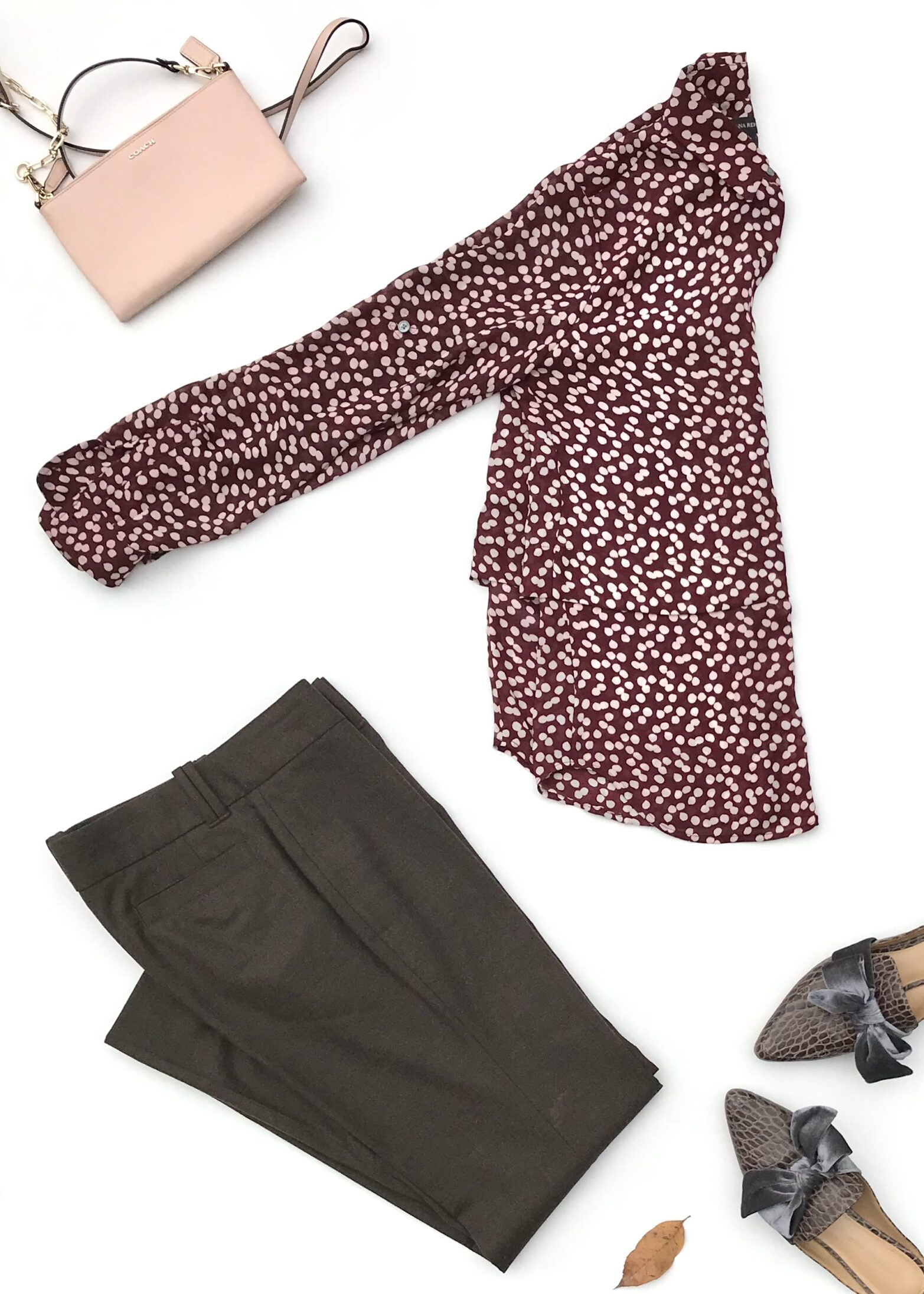 Wine Dotted Blouse + Brown Pants + Croc Mules + Pink Clutch