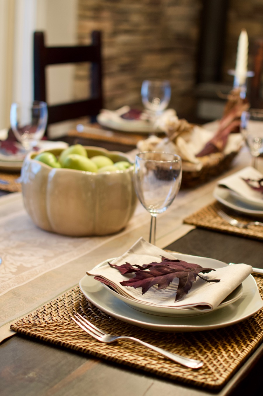 Fall Tablescape Place Setting & Pumpkin Bowl