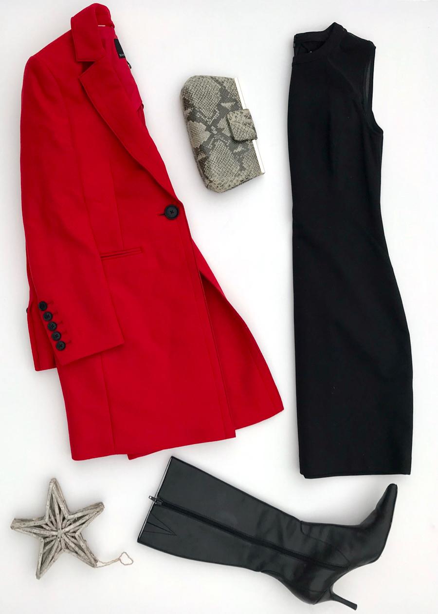 Red Coat + Black Dress + Snakeskin Clutch + Kitten Heel Boots