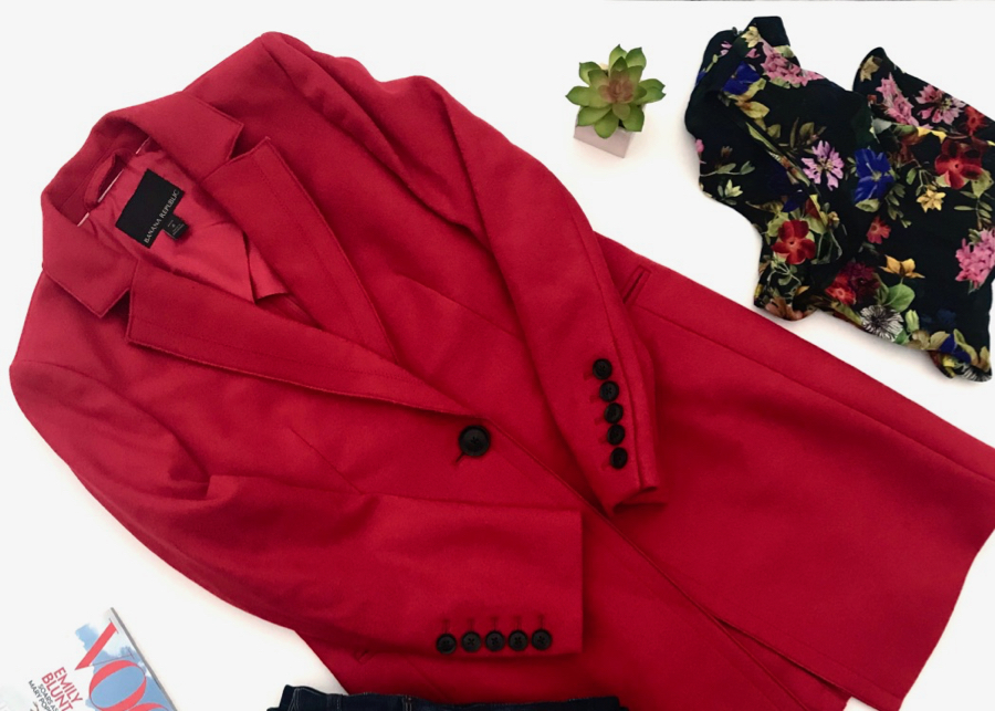 Red coat and floral blouse
