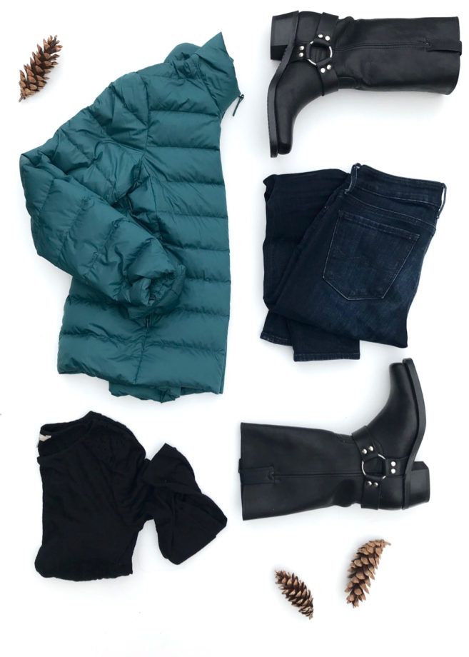 The Puffer Coat, Jeans, Long Sleeve T-shirt and Frye Boots