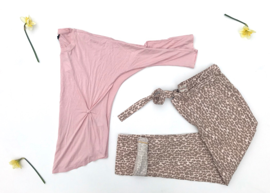 Animal print pants, pink twist tie top