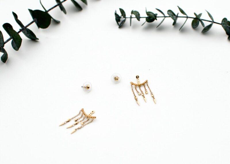 BCBG Pyramid Chain Jacket Earrings