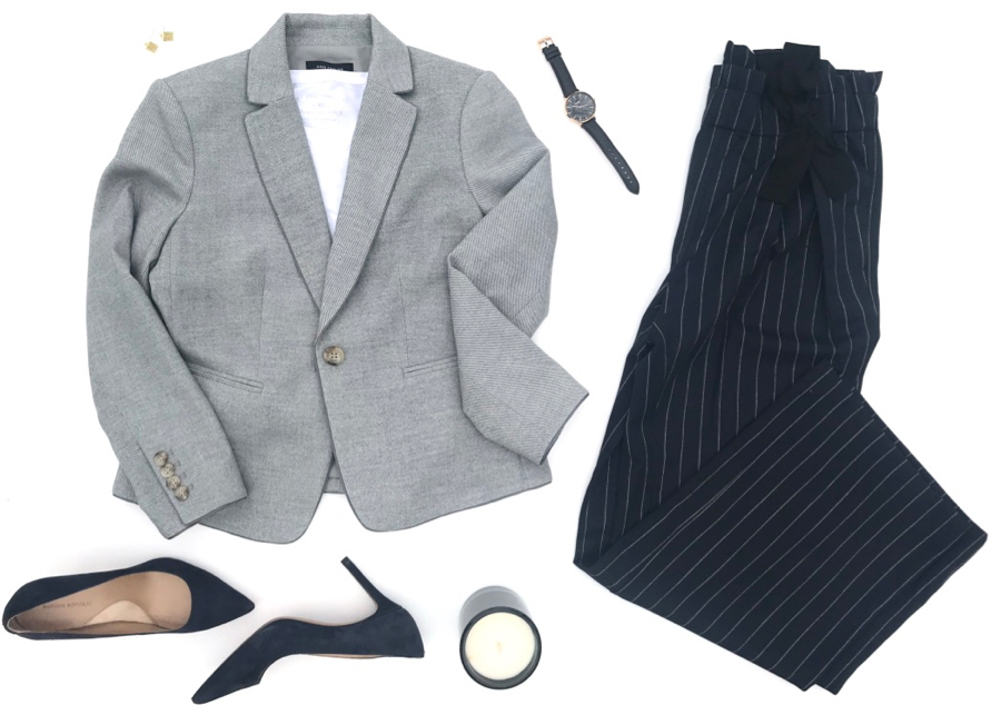Paperbag waist pants, cropped blazer, and suede  pumps