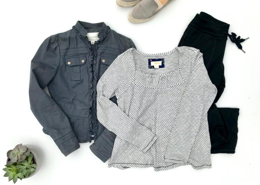Striped square-neck top, cotton jacket, lounge pants
