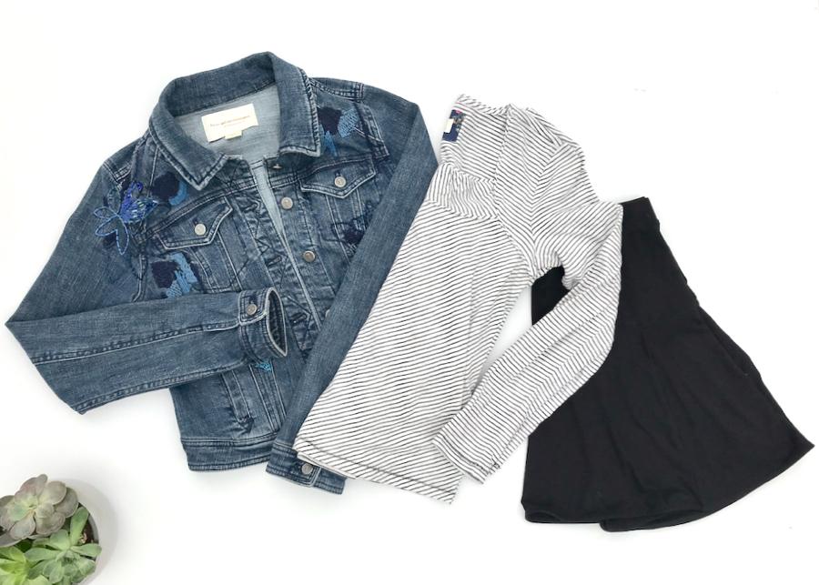 Striped square-neck top, denim jacket, black skirt