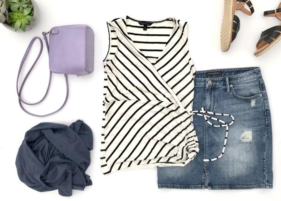 Striped wrap top, denim skirt, blue cardigan, sandals