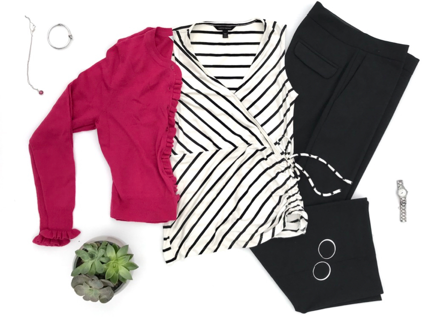 Striped wrap top, pink cardigan, black wide leg pants