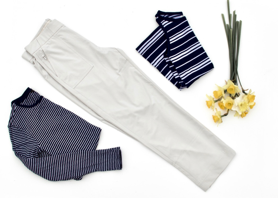 Travel Pants: Athleta Utility Crop with striped tops
