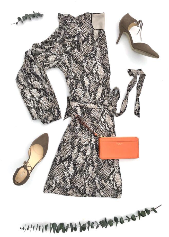 Snakeskin Print Dress With Orange Wristlet
