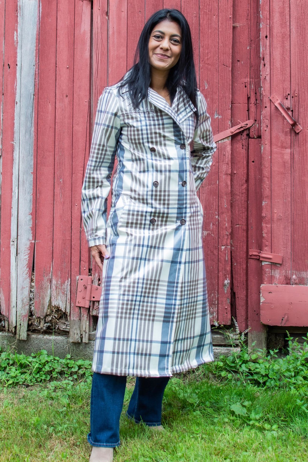 Fall Pre-Season Purchases: Plaid Glossy Trench Coat