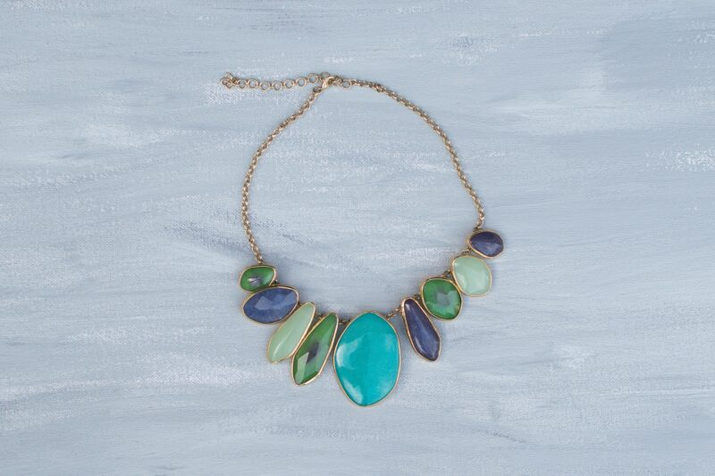 Statement Necklace In Blues With Greens