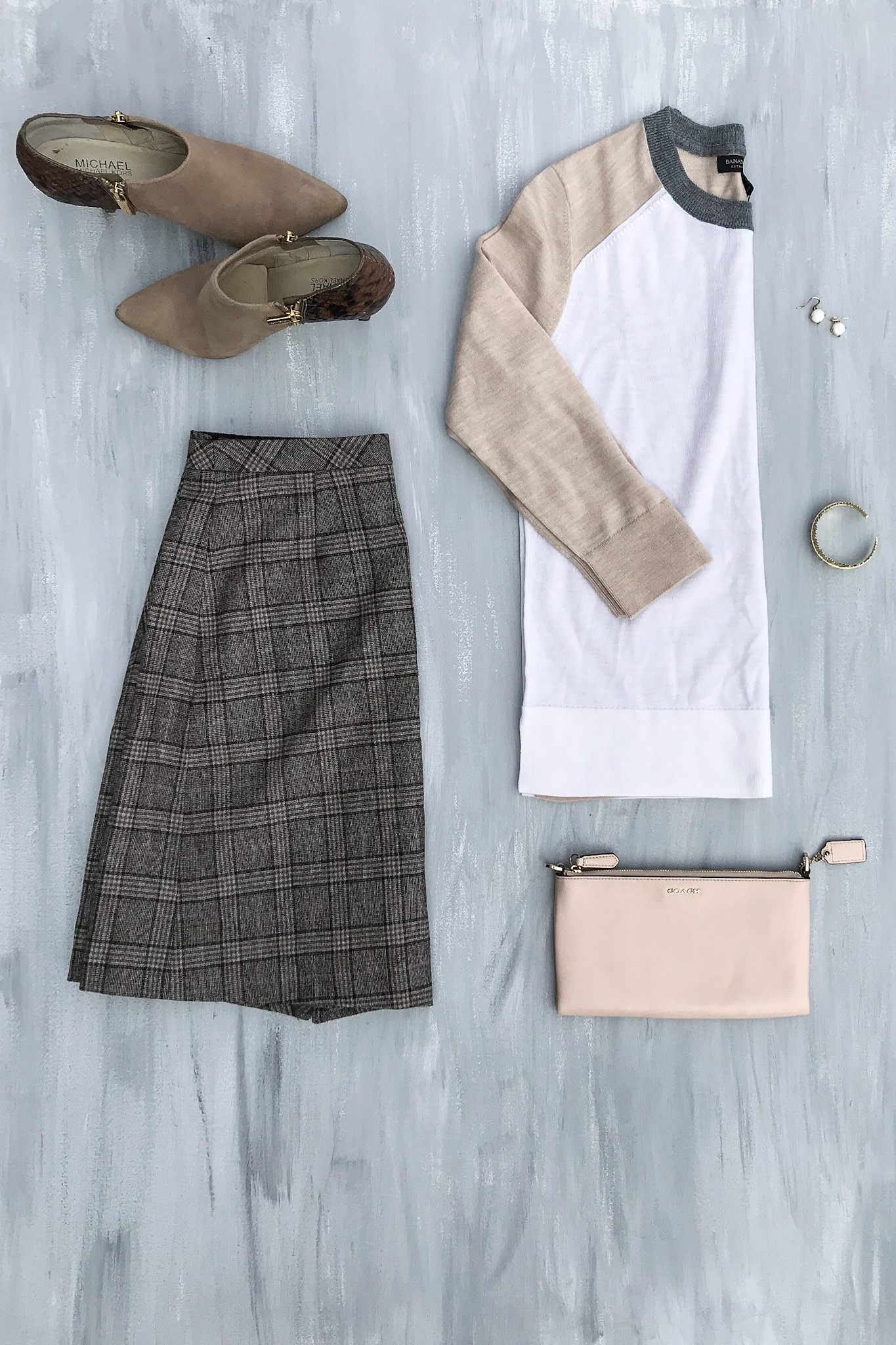 Color Block Sweater, Plaid Skirt, Booties, Clutch