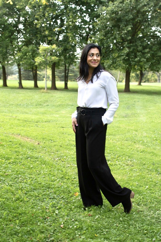 White Silk Blouse, Wide-Leg Pants, Booties
