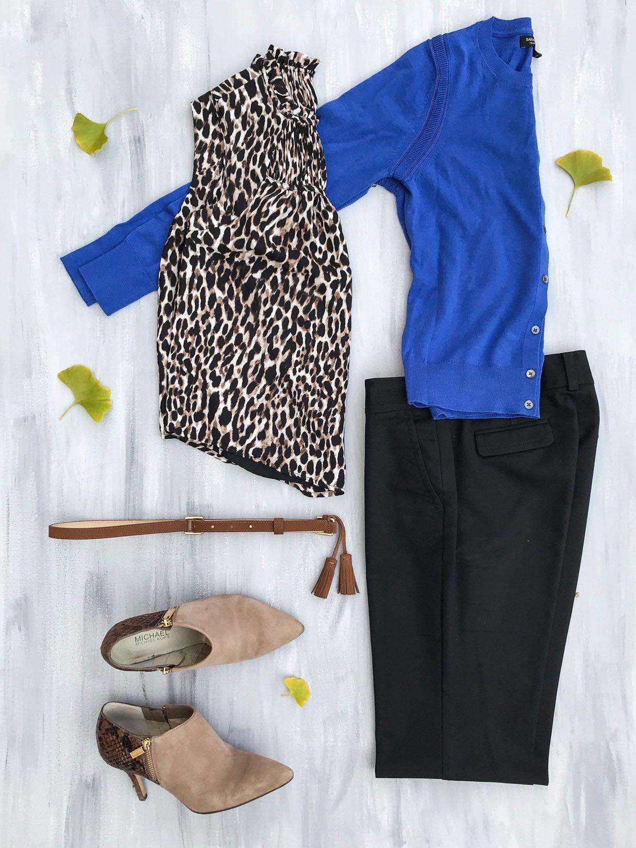 Banana Republic Silk Cashmere Cardigan, Japan Exclusive Pin-Tuck Top, black pants, tassel belt, booties.