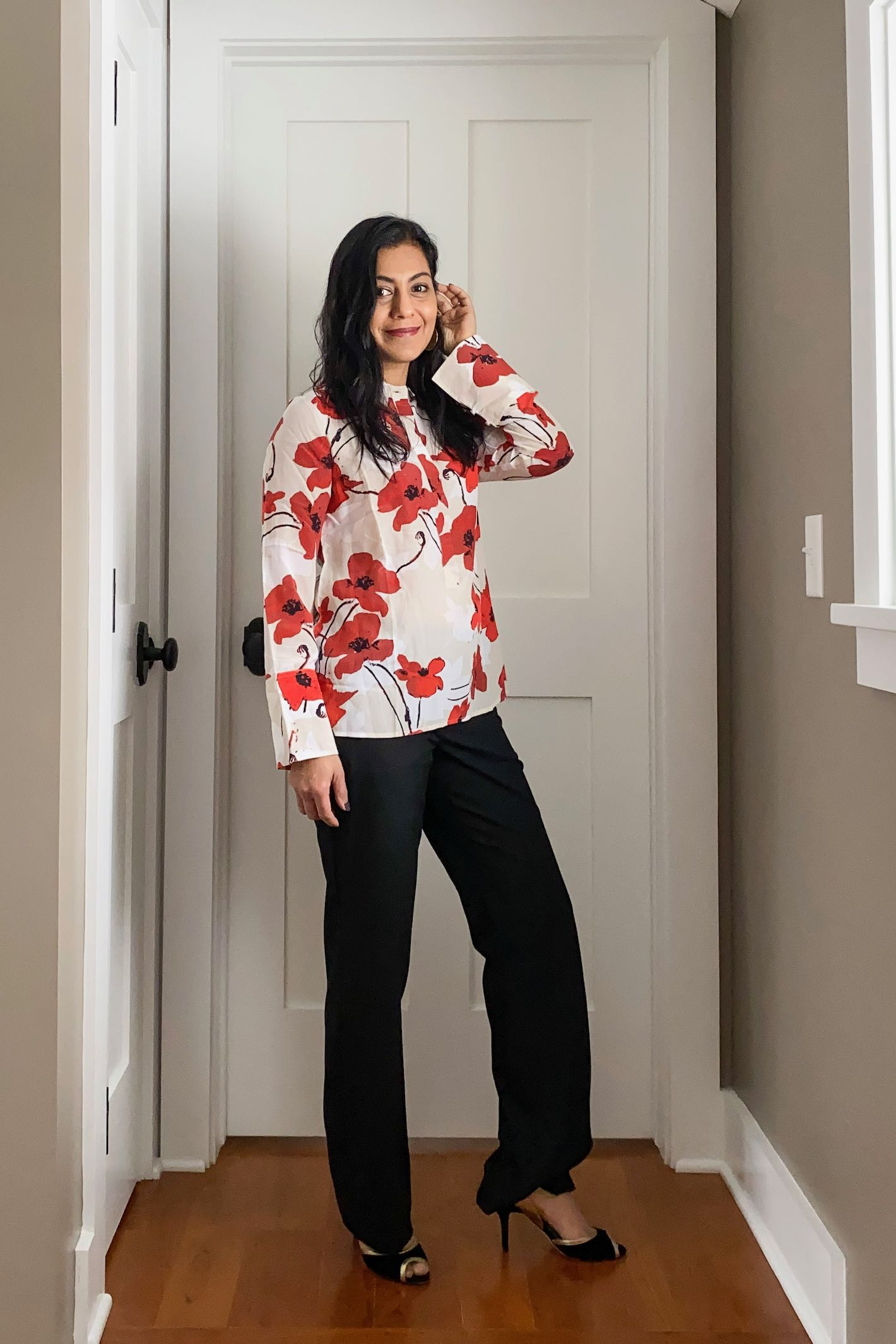 Valentine's Day Outfit: Silk Poppy Print Blouse