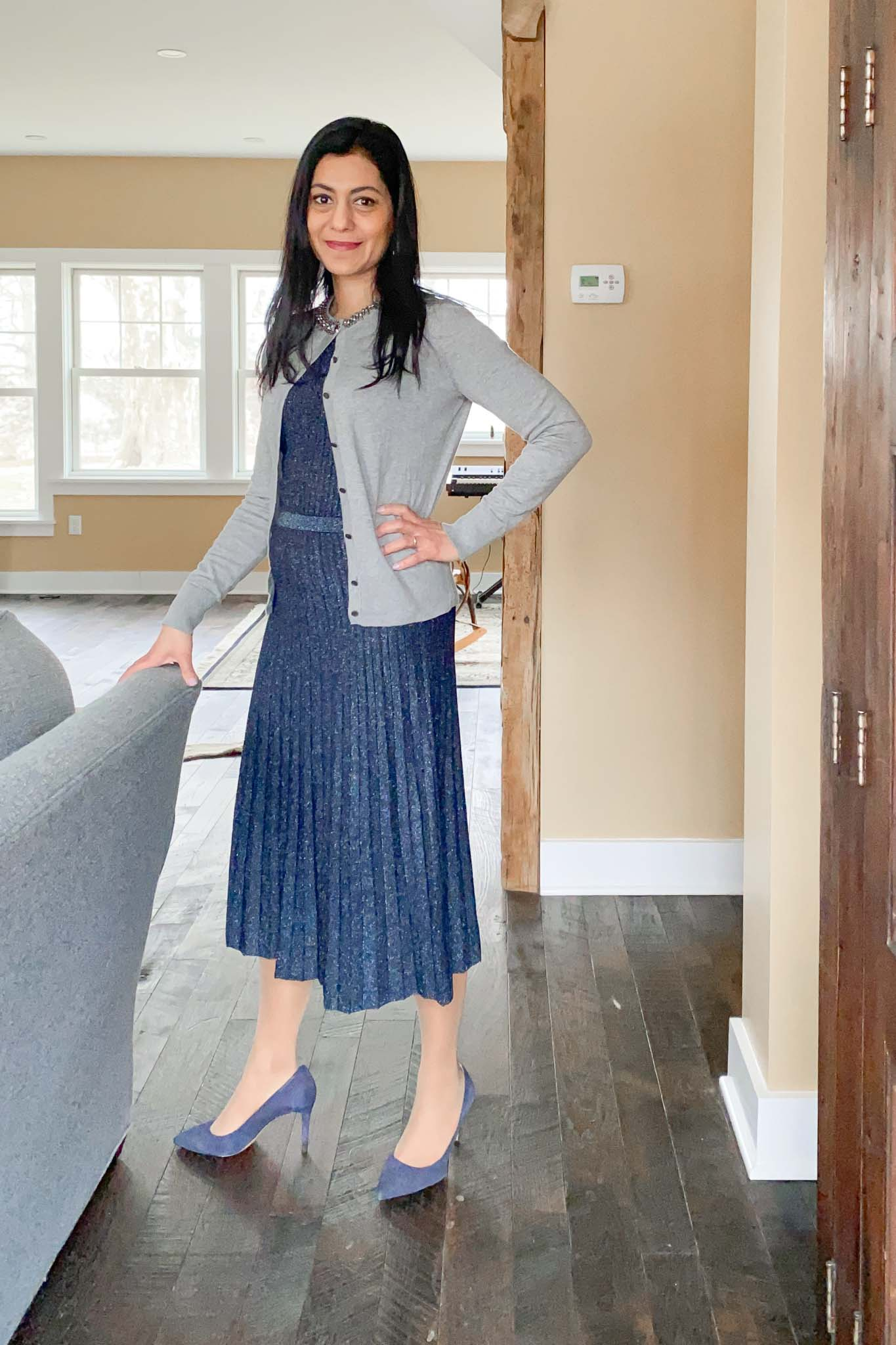 Sweater Dress With Cardigan